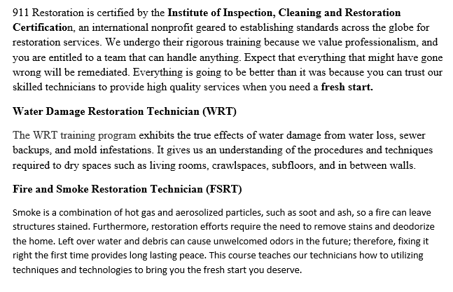 IICRC certified and EPA Certified in Water Damage Restoration