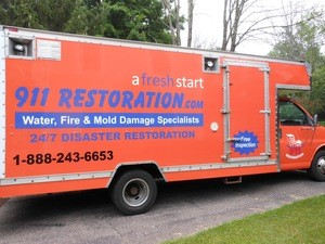 Water Damage Sugar Hill Box Truck Parked At Residential Job Location