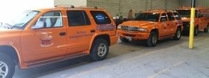 Water Damage and Mold Restoration Suvs At Warehouse